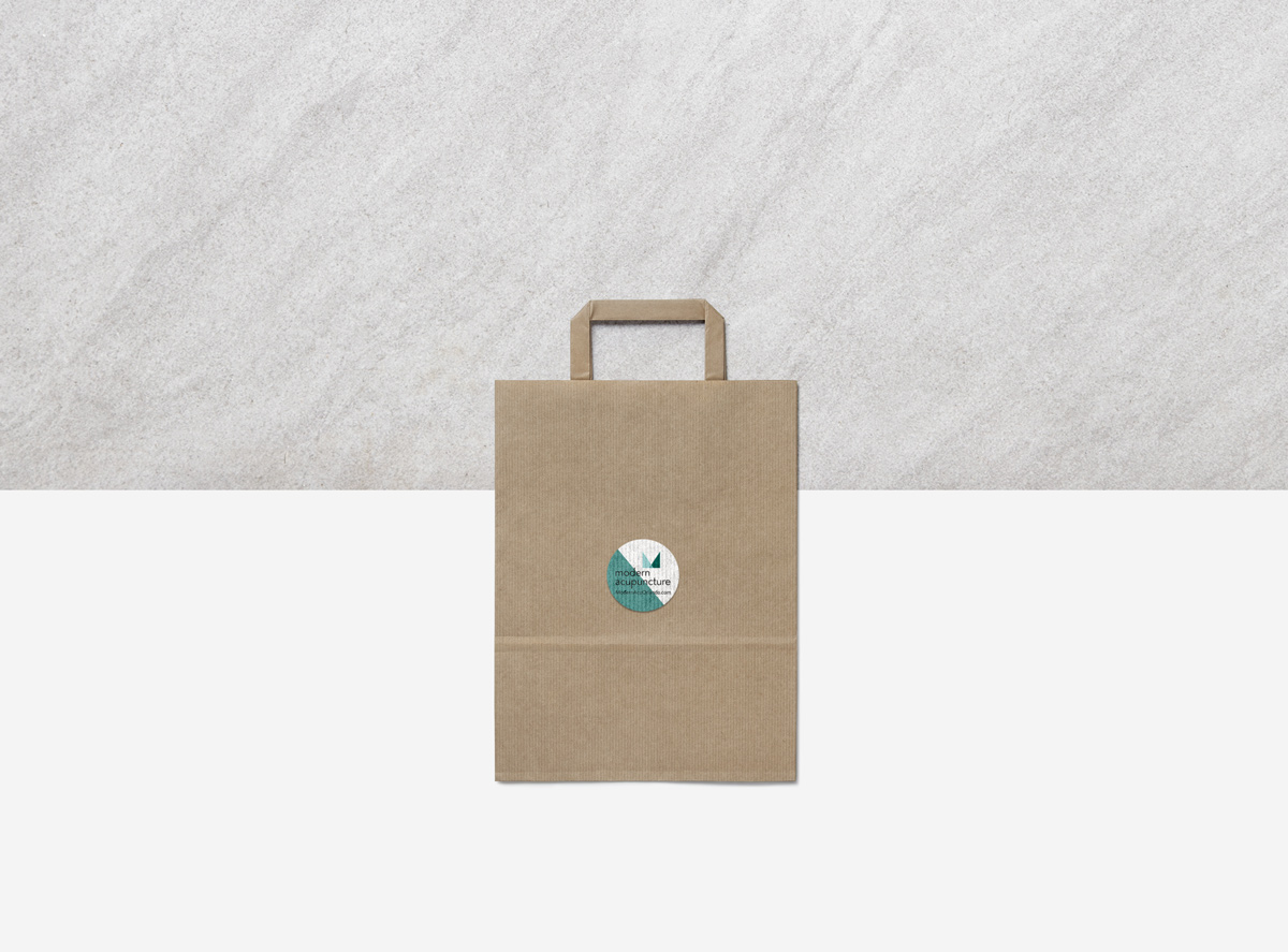 modern acupuncture branding by Shelley Easter - bag for herbs