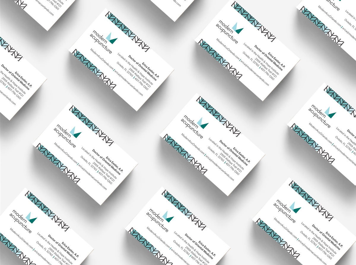 modern acupuncture branding and web desing by Shelley Easter, business cards
