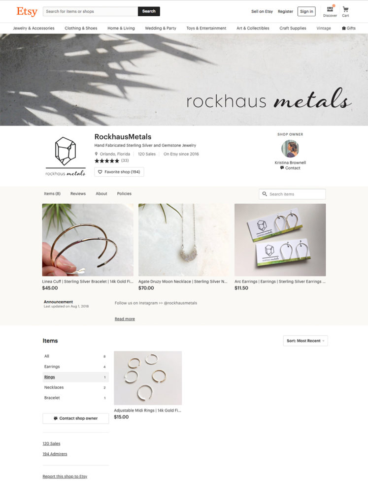 Etsy collection page Rockhaus Metals (rings)