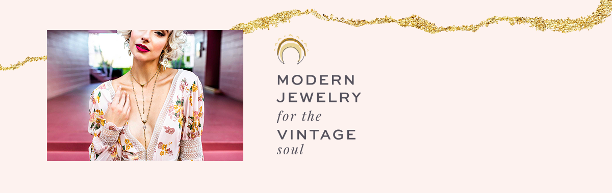 dora mae design details. picture of woman with necklace, gold foil background and tagline that says modern jewelry for the vintage soul