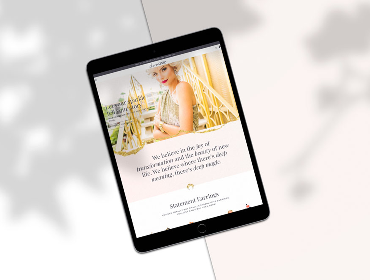 dora mae homepage mockup shopify design on ipad