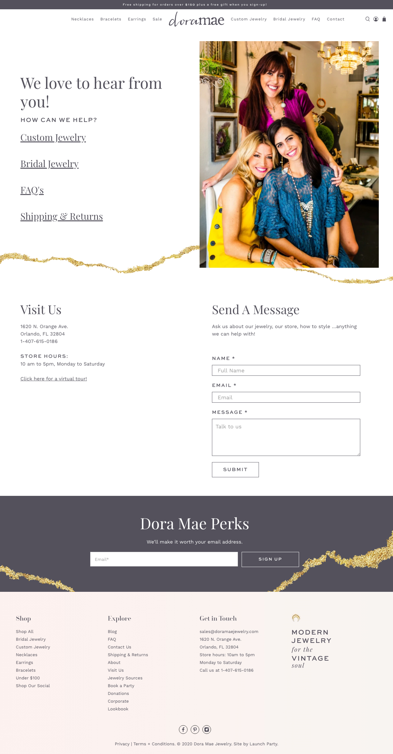 dora mae contact page new shopify site screenshot