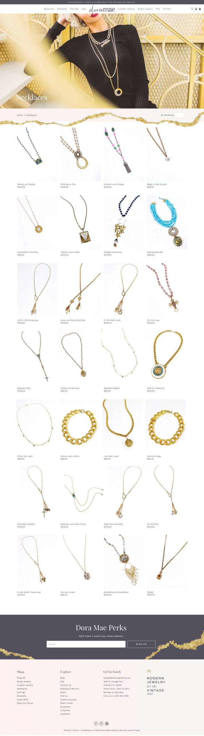 dora mae jewelry new shopify site design necklaces category page screenshot