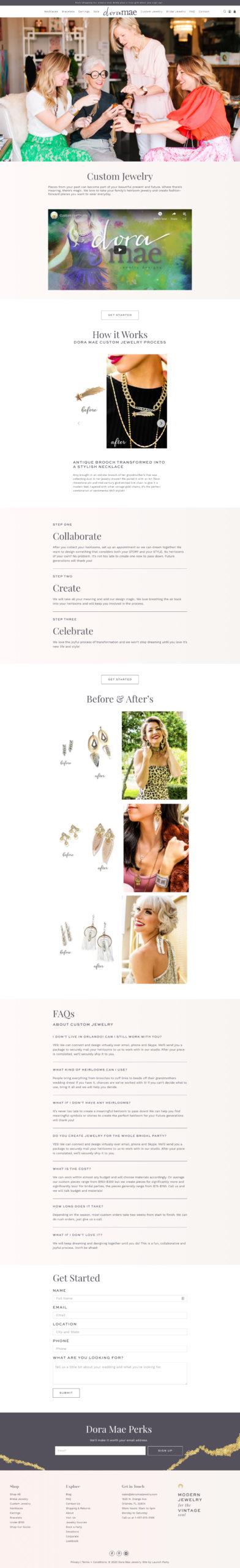 dora mae jewelry custom page new website shopify design screenshot