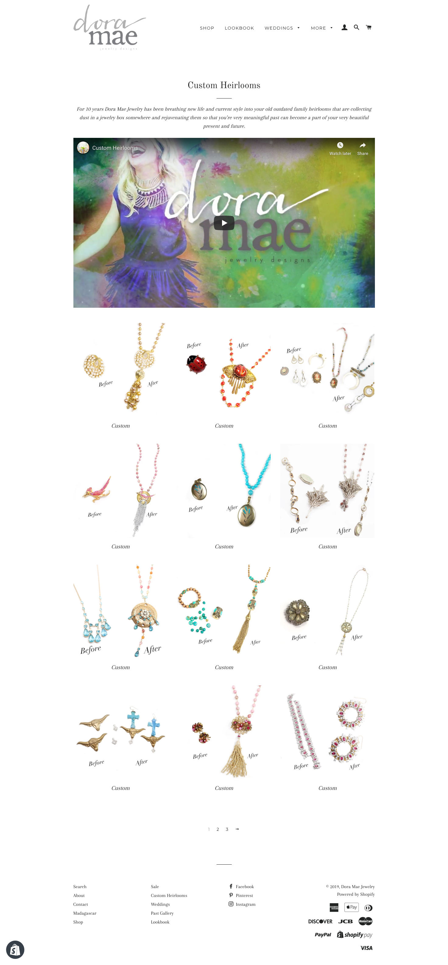 dora mae jewelry old website custom page screenshot