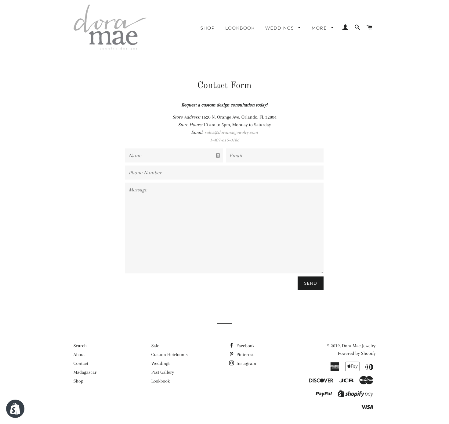 dora mae old shopify site contact page screenshot