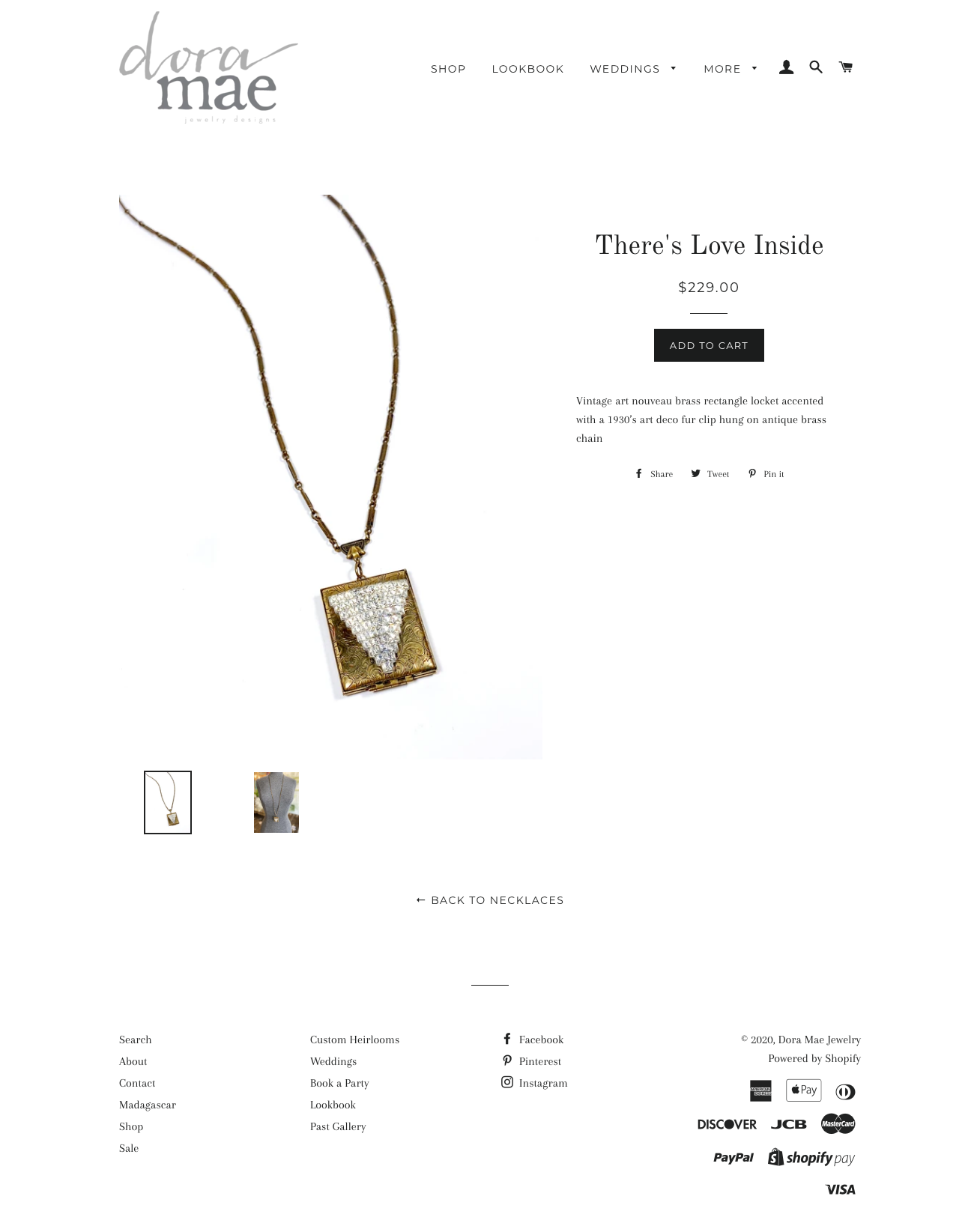dora mae jewelry old website screenshot product page