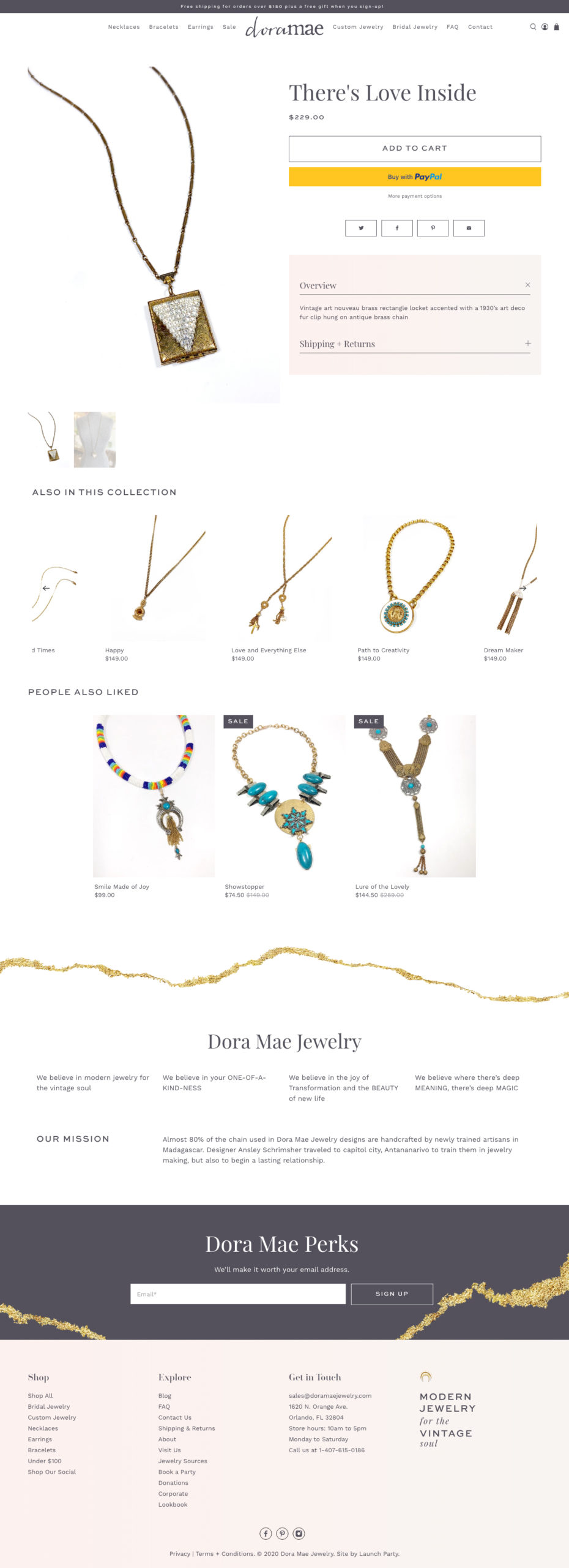 dora mae jewelry new shopify website product page example screenshot