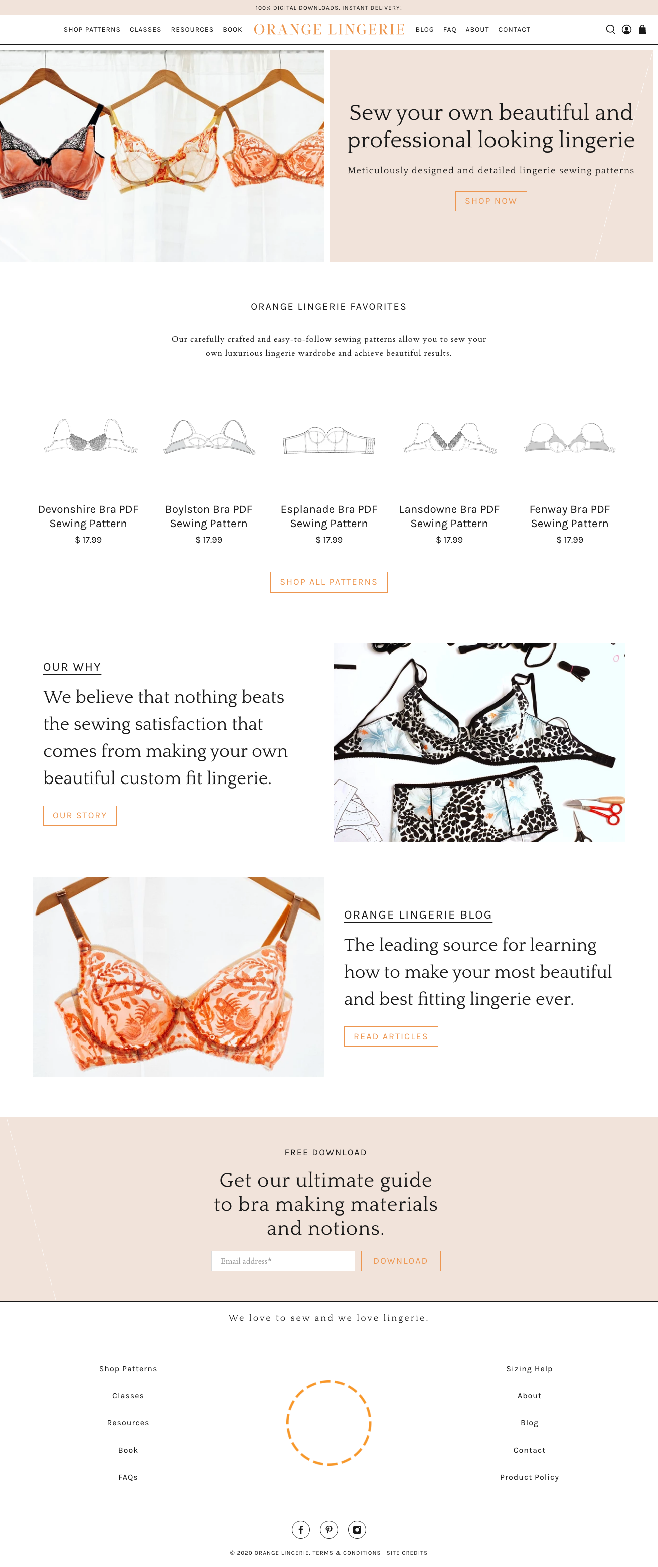 orange lingerie's new shopify homepage design