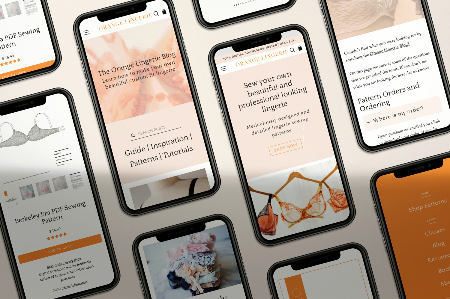 orange lingerie mobile design shows several iphones with the new website