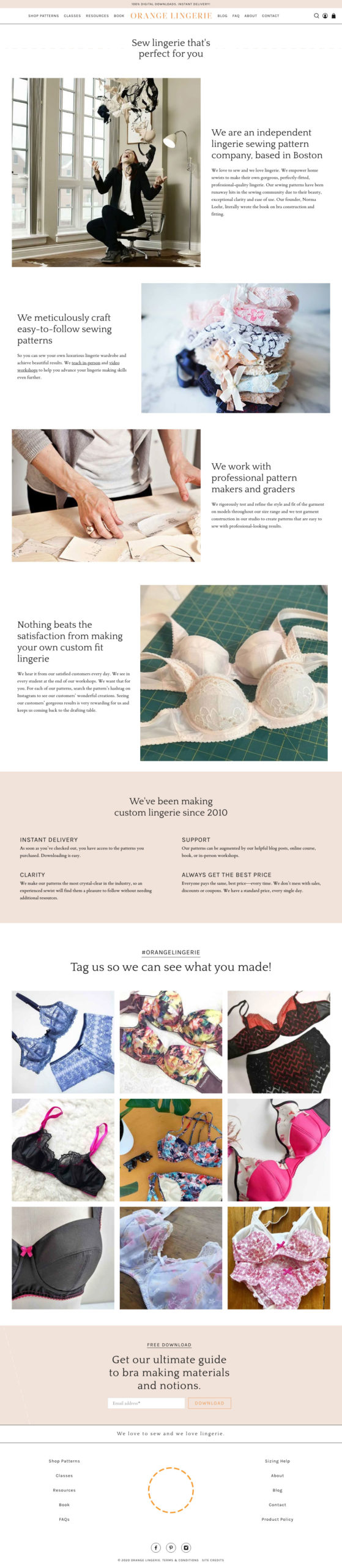 orange lingerie's new about page on shopify