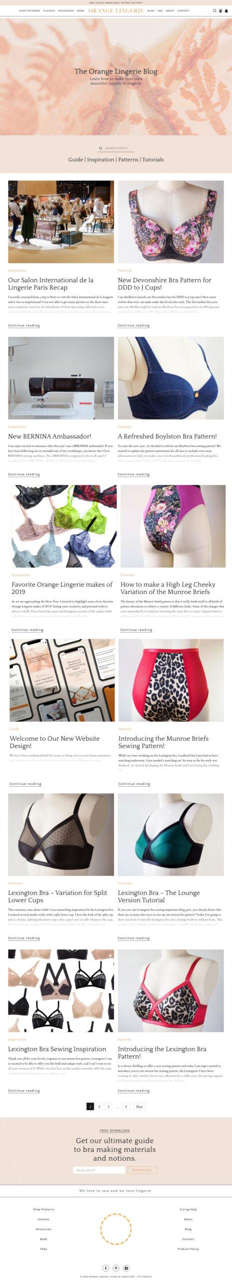 orange lingerie new blog design in shopify