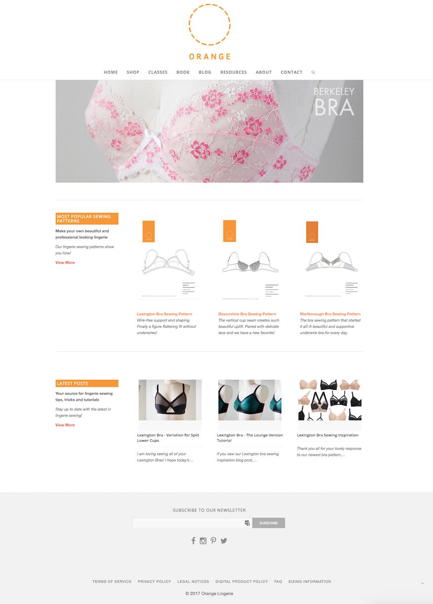 before: orange lingerie old homepage design