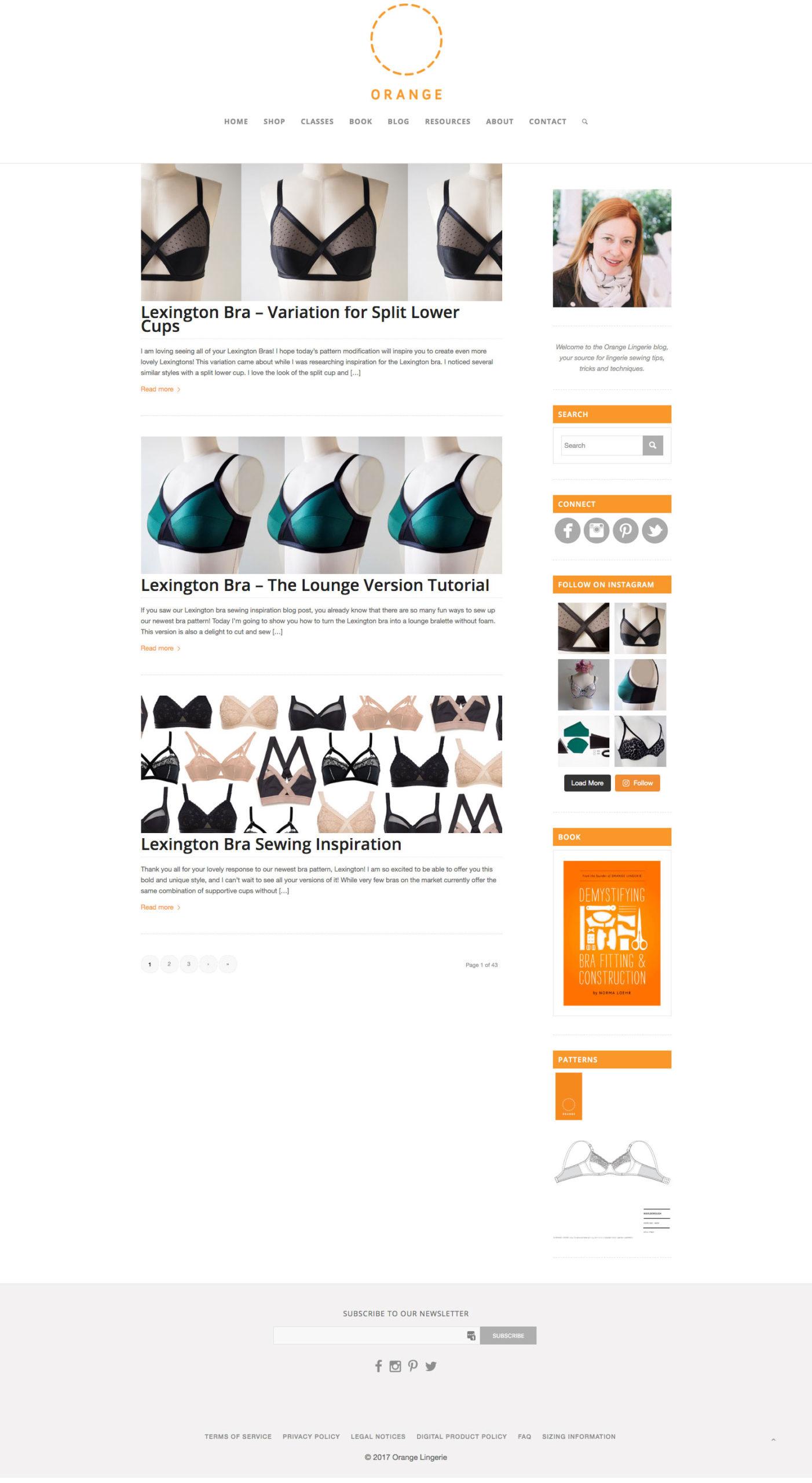 orange lingerie old blog design