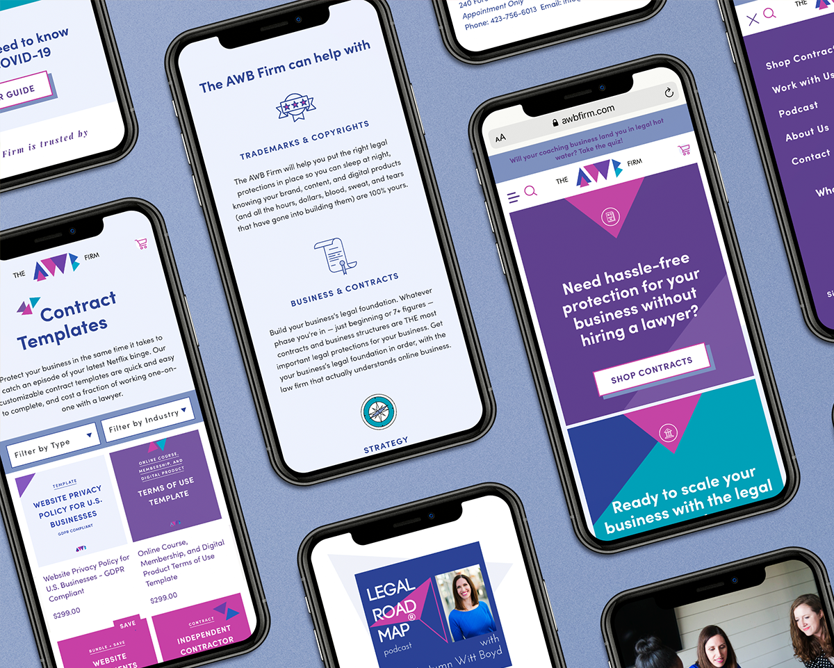 The AWB Firm Shopify website mockups on iphones