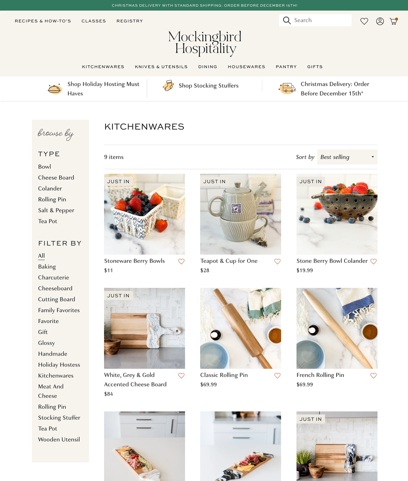 collection page template on Shopify for Mockingbird Hospitality