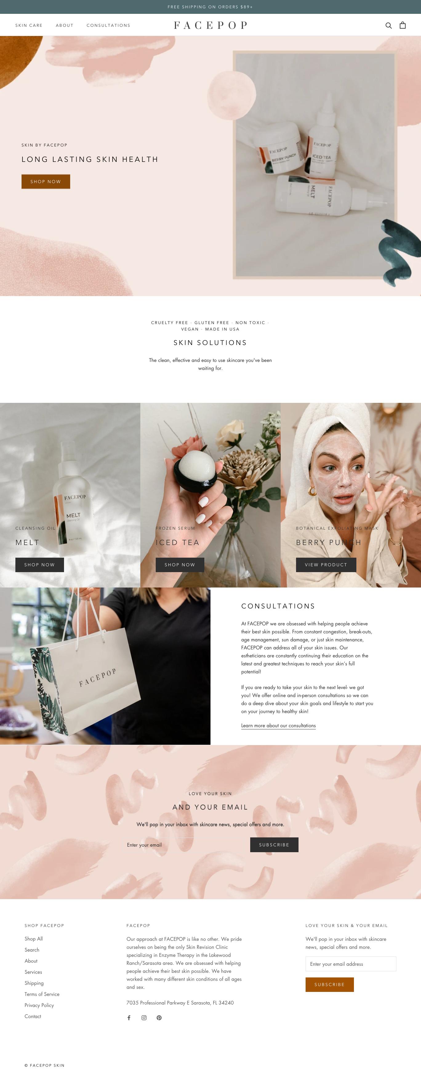facepop homepage design screenshot in shopify