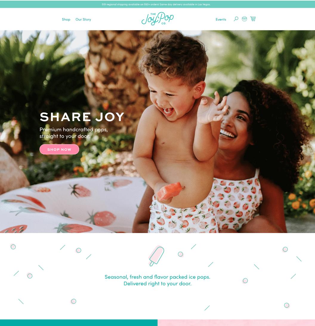 joypop homepage frozen pop company design by Launch Party