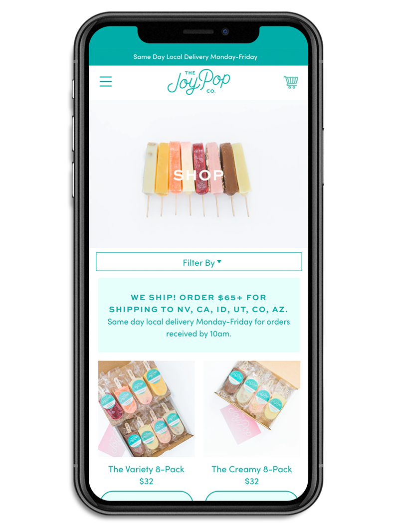 The JoyPop Co Shopify collection template on an iphone