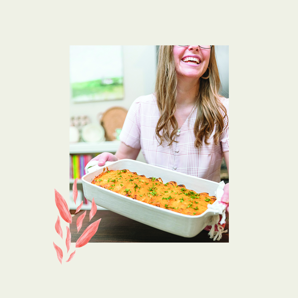 lauren with a casserole and pattern motif on top