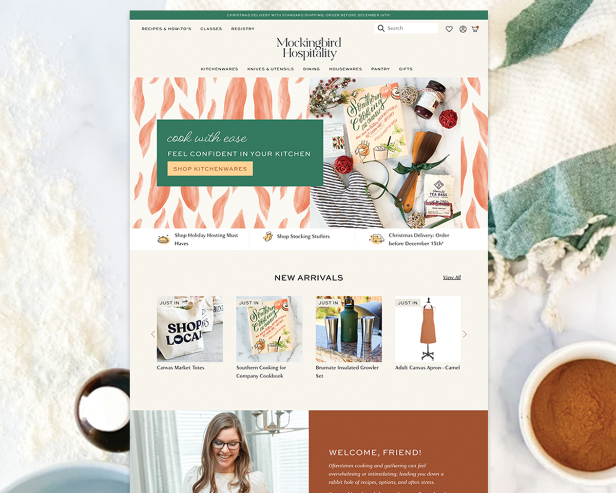 Mockingbird Hospitality homepage design