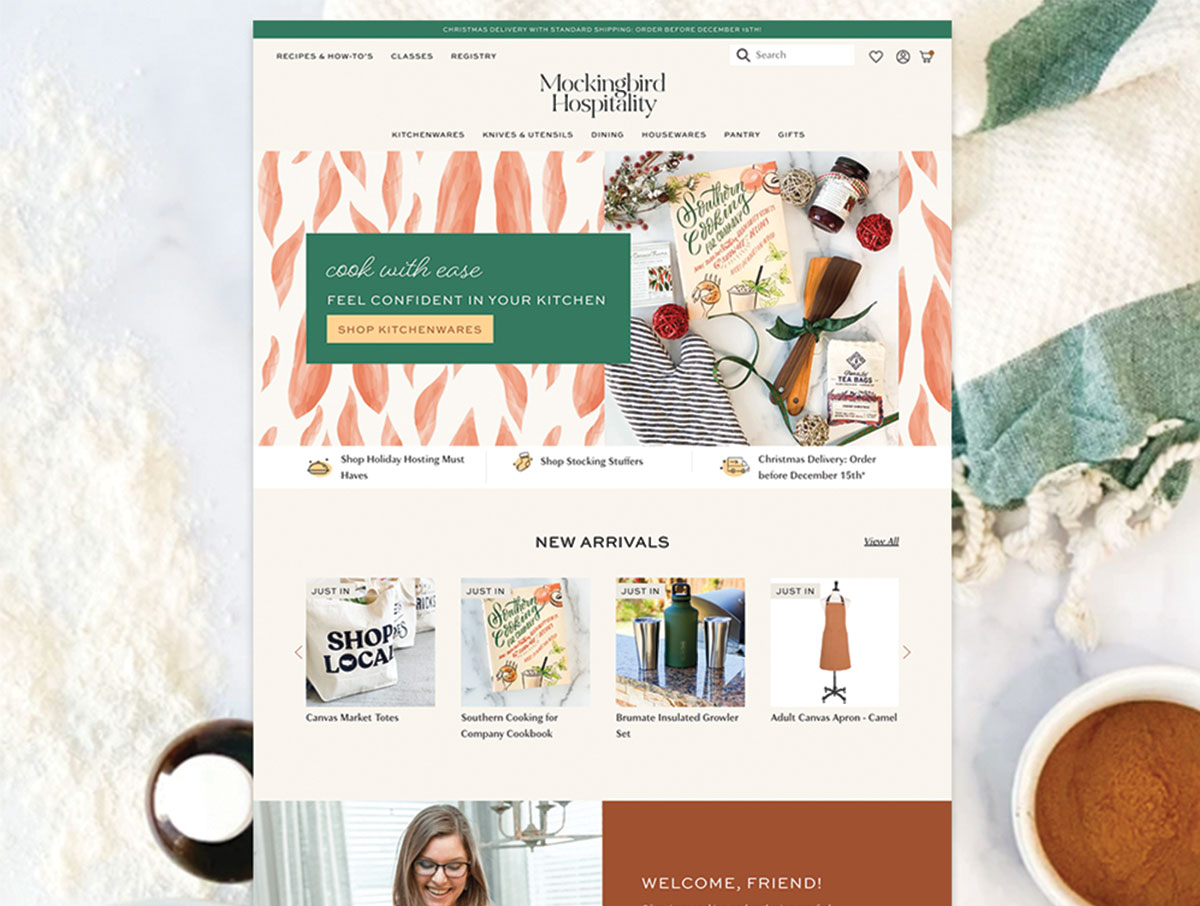 mockingbird hospitality website on Shopify