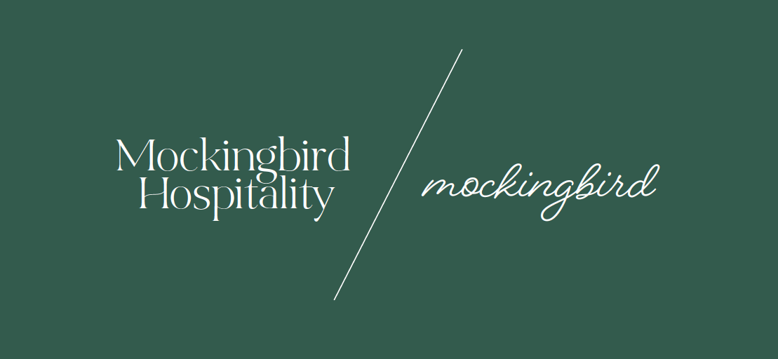 side by side of two logo designs for Mockingbird Hospitality