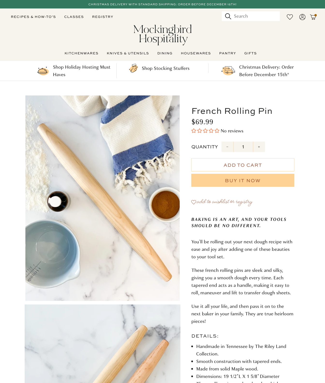 product page template on Shopify for Mockingbird Hospitality