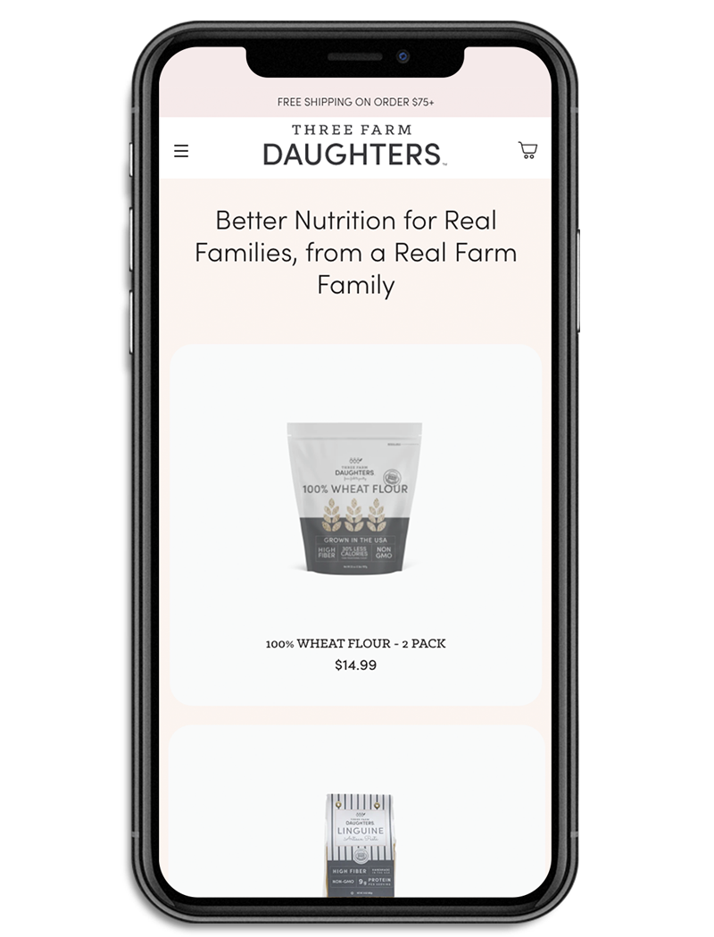 Three Farm Daughters collection template on mobile custom Shopify website mockup