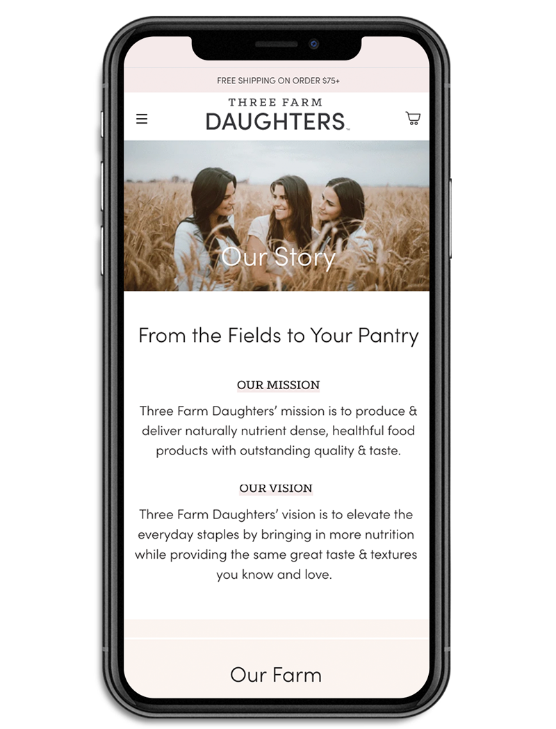 Three Farm Daughters Our Story page mockup on mobile
