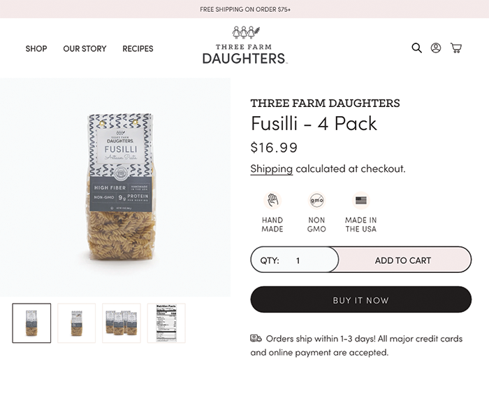 three farm daughters product page
