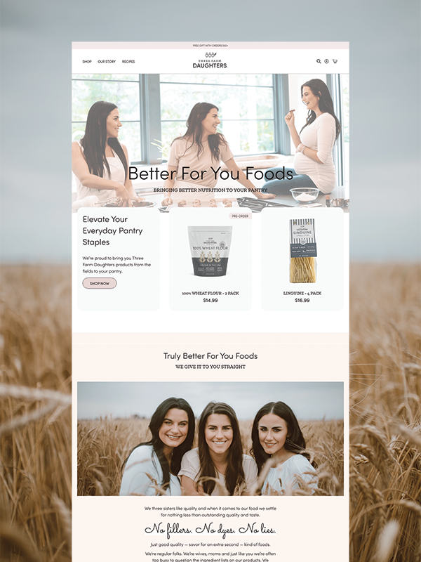 Three Farm Daughters Shopify website
